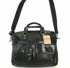 NEW FOSSIL BLACK LEATHER POCKETS WORK BRIEFCASE,CROSS BODY+MESSENGER+HAND BAG