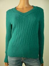 Ann Taylor Loft Green Cable Knit Rabbit Hair Wool Vneck Sweater XS 0 2 NEW A512