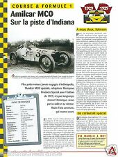 Amilcar MCO Special 6 Cyl. Indiana Racing 1929 Italia USA Car Auto FICHE FRANCE