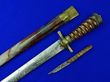 Antique Old German Germany 18 Century Hunting Sword Dagger w/ Scabbard Knife
