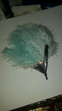 ANTIQUE BLUE OSTRICH FEATHER FAN TORTOISE SHELL HANDLE