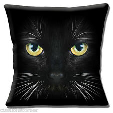 "BLACK CAT YELLOW GREEN EYES WHITE WHISKERS PHOTO PRINT 16"" Pillow Cushion Cover"