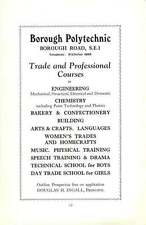 1938 Southwark  Borough Polytechnic Engineering Douglas H Ingall Empire Benefit