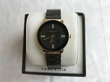 New Anne Klein AK-2714BKGB Women's Diamond Accent Black Ceramic Bracelet Watch