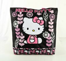 Hello Kitty Women Girls Tote Bag Handbag Purse Shopper Sanrio - Black Flowers