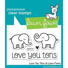 NEW LAWN FAWN TONS OF LOVE CLEAR ACRYLIC STAMP SET