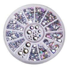 6cm NAIL ART GEMS JEWELS DESIGN CRAFT NAILS WHEEL ROUND SILVER AB AUROA BOREALIS