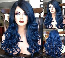 USA / DARK BLUE Lace Front & Heat OK Curly Navy Long Wig w/ Wavy Ombre Dark Root
