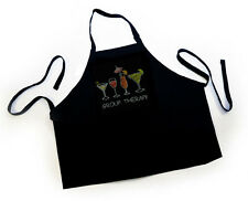 "HOTFIX RHINSTONES CRYSTAL IRON ON APRON ""Group Therapy  bling Apron handmade"""