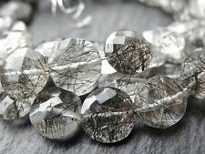 "Taglio tourmalinated Quarzo DISCHI / monete, circa 8mm, 7 "", 22 beads"