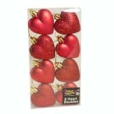Christmas Decoration 8 Pack 50mm Glitter / Plain Hearts - Red