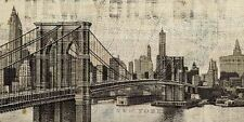 Michael Mullan: Vintage NY Brooklyn Bridge Fertig-Bild 50x100 Wandbild New York