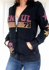 Sinful By Affliction Women's S Black Pink Graphic Zip Hoodie Jacket Love Pride