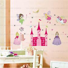 X-grande Rosa Princesa De Hadas Castillo pegatinas de pared Niñas Niños Dormitorio Art calcomanía