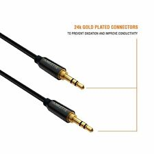 Amkette Car Stereo Cable Portable Aux Cable 1.2M 24k Gold Plated Connector Black