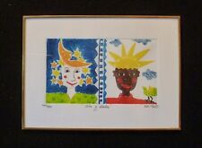 """Signed KIKI Suarez Etching """"Day and Night"""" """"Dia y Noche"""" 1996 500 ed.  SWEET!"""