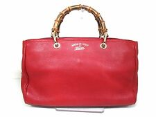Authentic GUCCI Red Bamboo Shopper 323660 Leather Tote Bag w/ Strap