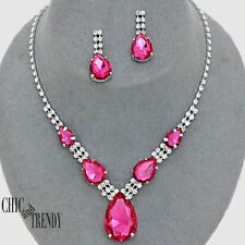 TRENDY PINK & CLEAR CRYSTAL PROM WEDDING FORMAL NECKLACE JEWELRY SET CHIC TRENDY