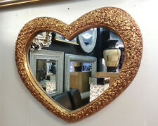 Heart Wall Mirror Ornate Gold Colour Frame French Engraved Roses 75x63cm New