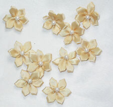 """Polyester Satin Ribbon Flowers with Bead 3/4"""" 10 pack or 40 pack"""