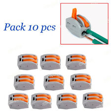 10PCS REUSABLE SPRING LEVER TERMINAL BLOCK ELECTRIC CABLE WIRE CONNECTOR 2 WAY