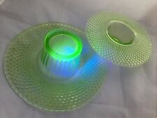 "2x (6"" & 8"") URANIUM GREEN glass posy bowls by JOBLING (England) pat no# 2595"