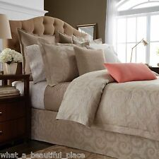 3-Pc Wamsutta Ashby Full-Queen Duvet Set Bisque Beige Matelasse Damask Scrolls