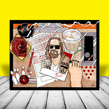 New THE BIG LEBOWSKI artist signed POSTER ART, shows Dude, bowling ball, pins