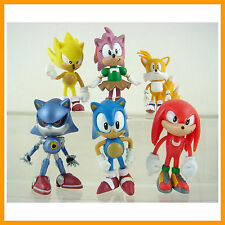 """6 pcs Sonic the Hedgehog Amy Tails Mephiles Knuckles 6cm or 2.4"""" Figures + GIFT"""