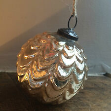 Antique Gold Ripple Glass Bauble, Round Xmas Tree Decoration Vintage Shabby Chic