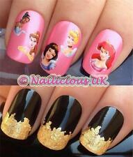 NAIL ART SET 523 DISNEY PRINCESS TIANA/SNOW WATER TRANSFERS/STICKERS & GOLD LEAF