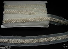 "BN111 6/8"" Pearl Bead Beaded Trim Banding Edge Lace 1Yard"