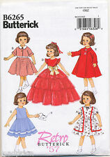 "BUTTERICK SEWING PATTERN 6265 RETRO VINTAGE '57 18"" DOLL CLOTHES, DRESSES, COAT"