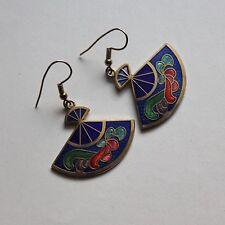 Vintage 70s Cloisonné  fine enamels fan shape earrings pierced art deco