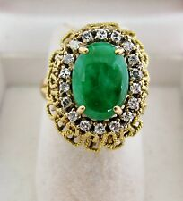 Vintage 14K Yellow Gold Ring w/ Green JADEITE & 18 DIAMONDS  (6.6g, size 4.75)