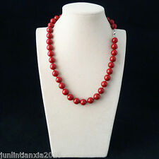 100% Genuine Beautiful 10MM Red Sea Shell Pearl Necklace 18'' AAA