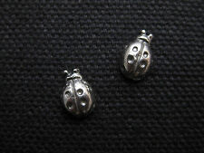 LADY BUG .925 Sterling Silver Stud Earrings - FREE SHIPPING & Gift Box!!