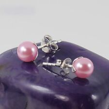 Ladies 925 Sterling Silver Stud Earrings 6mm Rose Pearl Wedding Bridal New 1.0mm