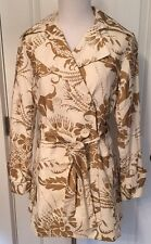 XS CAbi Trunk Show Gold Ivory floral print Jacket Trench Belted Pea coat EUC