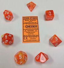 Chessex Polyhedral 7 Die Vortex Solar Orange w/ White Numbers Dice CHX 27423