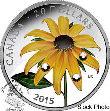 Canada 2015 $20 Black-eyed Susan with Swarovski Elements Silver Coin