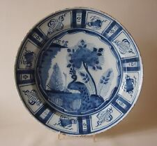 "LARGE 18th century DELFT CHARGER DISH PLATE ""BIRD / PEACOCK"" 14 ins"