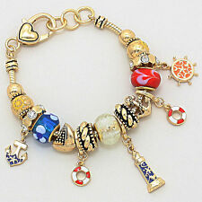 Anchor Light House Charm Bracelet Beaded GOLD Lobster Claw Nautical Jewelry