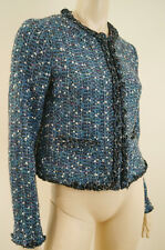 TORY BURCH Blue & Silver Metallic Boucle Tweed Long Sleeve Cropped Jacket UK10