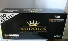 KORONA 500 + 50 GRATIS  Slim 15 mm Filter Empty Cigarette Tubes