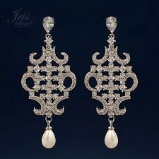 White Gold Plated Cubic Zirconia CZ Pearl Wedding Bridal Drop Dangle earrings 05