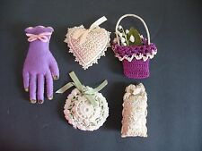 S/5 Vintage Pin Cushion Sachet Mary Chess Hand Heart Basket Crochet Lace