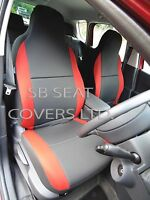 TO FIT A MINI 1 CAR SEAT COVERS, BLACK / CHERRY RED TRIM