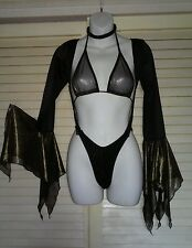 3PC Shiny Gold Micro Mesh Elvira Asymmetrical Sleeve Monokini Stripper Outfits