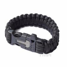 Paracord Survival Bracelet Camping With Whistle Flint Fire Starter - Black